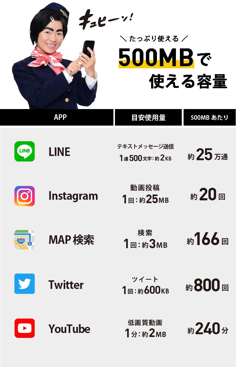 通信容量1日500MBでのアプリ毎の目安使用量