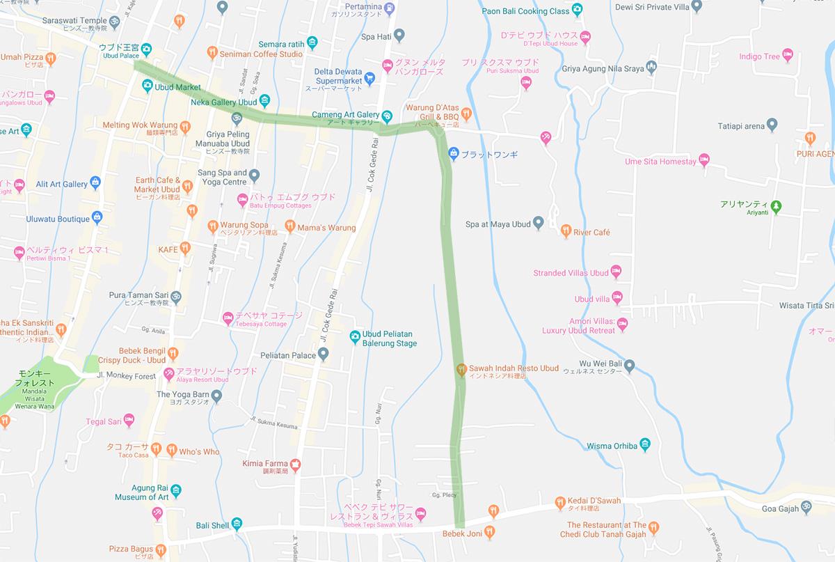ウブドの散策道のマップ